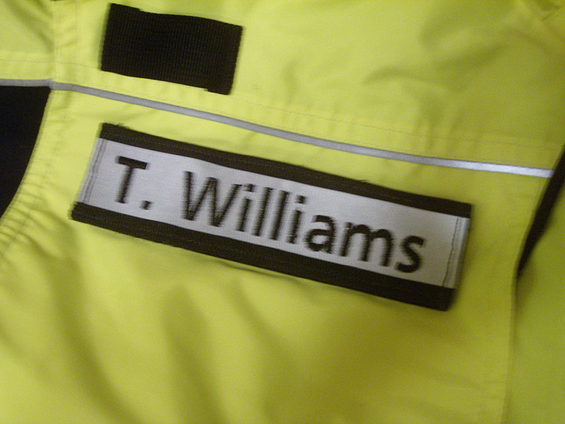 If you need a name panel for the receiving Velcro on a jacket or bike shirt, one can be hand-crafted to your specifications. Threadbearer can also order blank patches and attach hook Velcro once embroidery is complete.